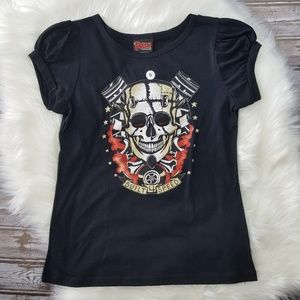 NWOT Felon Frank Skull Piston Built 4 Speed Tee